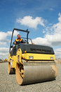 Compactor roller at road work Stock Images