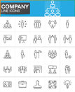 Company, Business people line icons set
