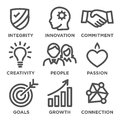 Company Core Values Outline Icons Royalty Free Stock Photo