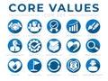 Company Core Values Round Web Icon Set. Integrity, Leadership, Quality and Development, Creativity, Accountability, Simplicity, Royalty Free Stock Photo
