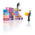 Company creation two people make the builds their own business Stock Images