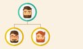 Company employees ranking position a chart of three hipster caucasian with beard themselves from higher down to the next Stock Photo