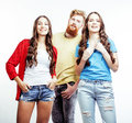 Company of hipster guys, bearded red hair boy and girls students having fun together friends, diverse fashion style