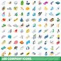 100 company icons set, isometric 3d style