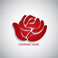 Company logo red rose with long shadow Royalty Free Stock Images