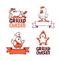Company logo set grilled chicken logotype Stock Image