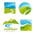 Company logotype with cartoon landscape illustrations set