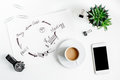 Company strategy development in business on office desk background top view mockup