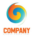 Company swirl circle logo vector template of a swirling on a white background with green orange and blue colors Royalty Free Stock Image