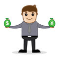 Comparing currency office and business cartoon character vector illustration concept pose drawing art of young businessman Royalty Free Stock Photo