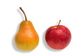 Comparison apple and pear green red as a concept for Royalty Free Stock Images