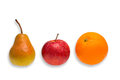 Comparison apple pear and orange green red an fruit as a concept for Royalty Free Stock Photography