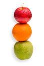Comparison of apples with oranges conceptual shot you cannot compare Stock Image