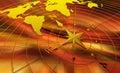 Compas avec la carte du monde Photographie stock libre de droits