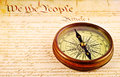 Compass and American Constitution Royalty Free Stock Photography