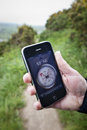 Compass App on Apple iPhone 3Gs Stock Photos