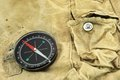 Compass on the camouflage bag black modern close up Stock Photo