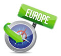 Compass directed to europe illustration design over white Stock Photos