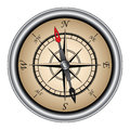 Compass directional illustration of a vintage with silver rim used in navigation Royalty Free Stock Image