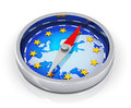 Compass of europe european union political concept metal magnetic with blue map with golden stars on white background with Royalty Free Stock Image