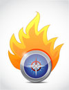 Compass on fire illustration design over a white background Royalty Free Stock Image