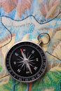 Compass on geography map