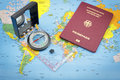 Compass and German passport and world map Royalty Free Stock Photo