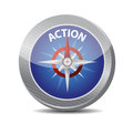 Compass guide to action illustration design over a white background Royalty Free Stock Image