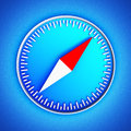 Compass icon on a blue leather background hi res digitally generated image Stock Photography