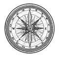 Compass illustration, drawing, engraving, ink, line art, vector Royalty Free Stock Photo