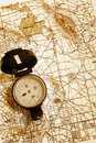 Compass on a map Stock Photography
