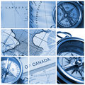 Compass and map collage Royalty Free Stock Photo