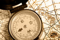 Compass on a map Duotone Royalty Free Stock Photo