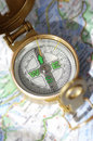 Compass and map is out of focus Royalty Free Stock Photos