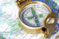 Compass and map is out of focus Stock Images