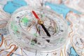 Compass and map topographic closeup Stock Image
