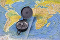 Compass and the map of the world Royalty Free Stock Photo