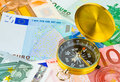 Compass and money Royalty Free Stock Photo