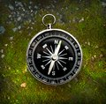 Compass on moss ground autumn Royalty Free Stock Photography