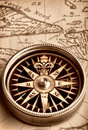 Compass on old map Stock Image