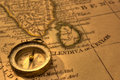 Compass and Old Map India Stock Images