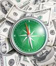 Compass over hundred dollars financial concept finance Royalty Free Stock Image