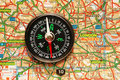 Compass over the map of UK Stock Photography