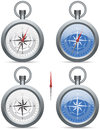 Compass with pointer modern contemporary a needle and rose wind face in white and blue Stock Photography