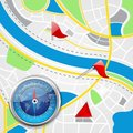 Compass on road map vector illustration of with pointer Royalty Free Stock Image