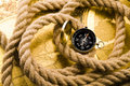Compass & Rope and Old map Stock Photos