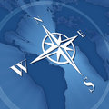 Compass rose on background of world map Stock Photo
