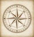 Compass rose on old paper vintage Stock Photography