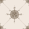Compass rose sketch style seamless pattern vector Royalty Free Stock Photo