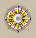 Compass sun illustration Royalty Free Stock Photo